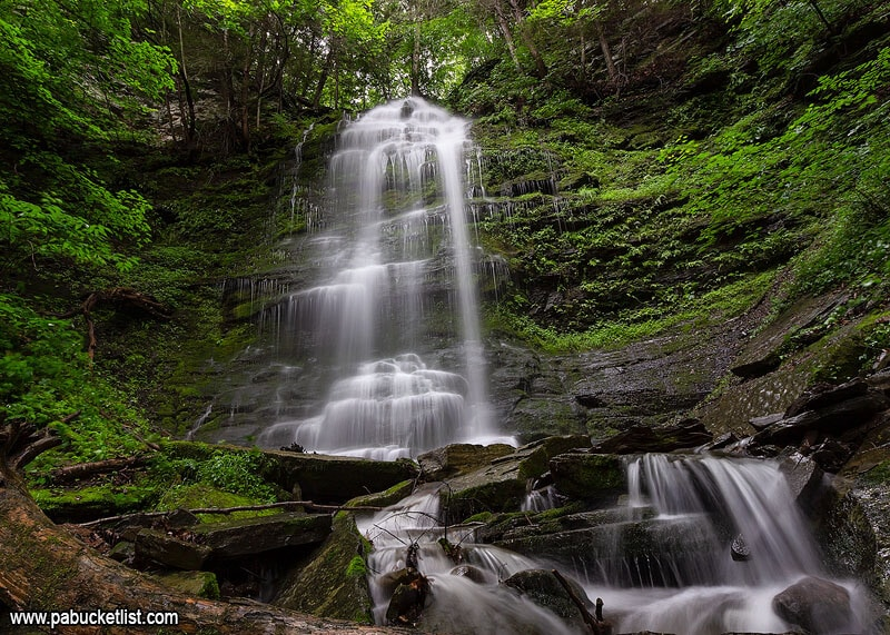 A summer scene from the upper tier at Chimney Hollow Falls.