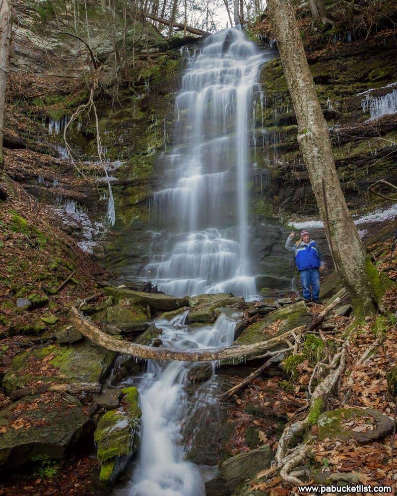 Steve near the 30-foot upper tier of Chimney Hollow Falls.