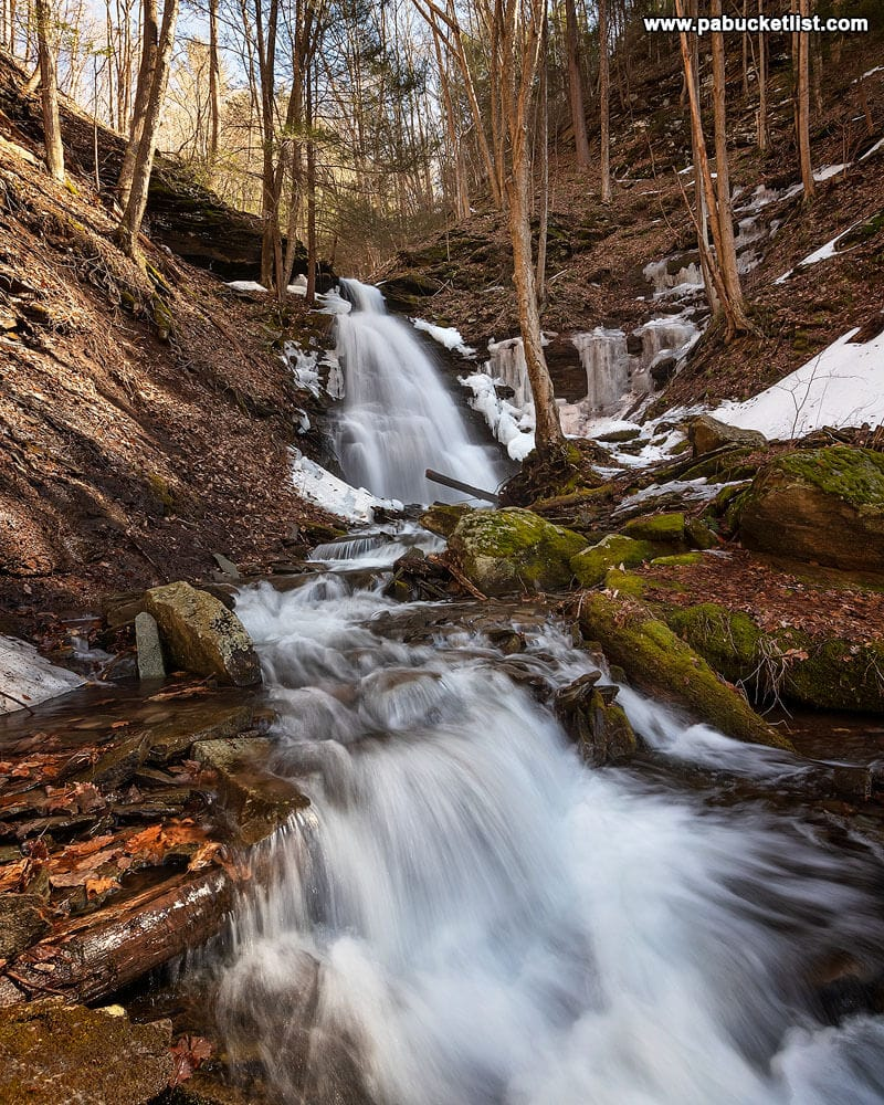A downstream view of Water Tank Hollow Falls along the Pine Creek Rail Trail in Tioga County, PA..