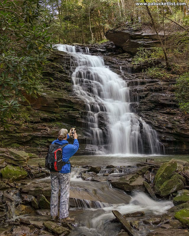 The author at Yoder Falls in the Laurel Highlands of Pennsylvania.
