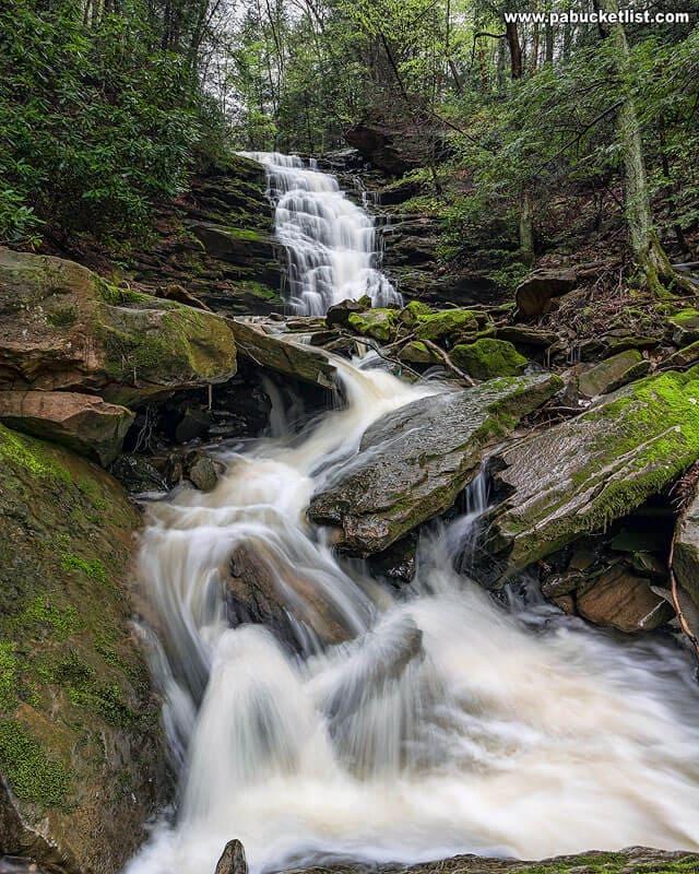 A springtime view of Yoder Falls near Davidsville, PA.