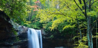 An autumn view of Cucumber Falls at Ohiopyle State Park.