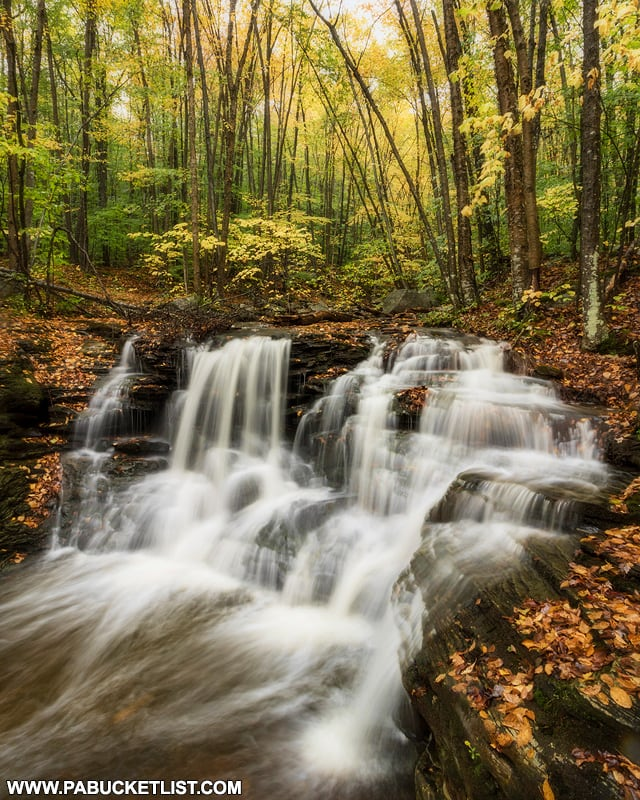 An autumn scene from the first waterfall on Miners Run in the Loyalsock State Forest.