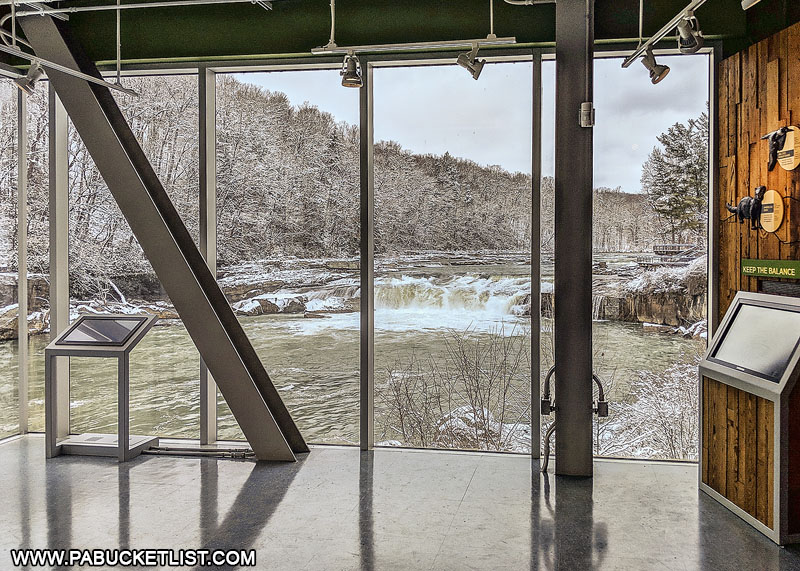 Ohiopyle Falls as viewed from inside the Laurel Highlands Visitors Center.