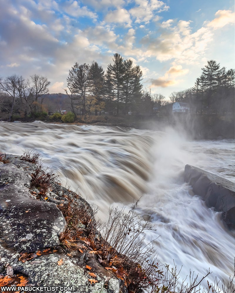 High flow over Ohiopyle Falls as viewed from the Ferncliff Trail.