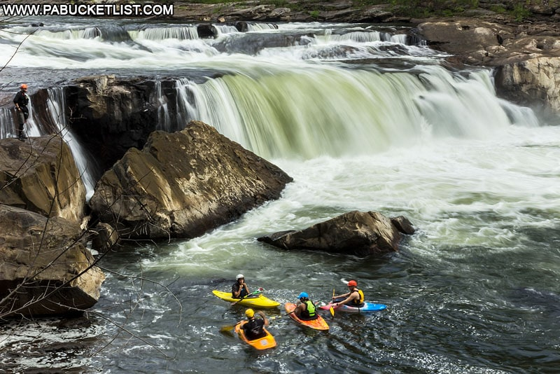 Kayakers congregated near Ohiopyle Falls.