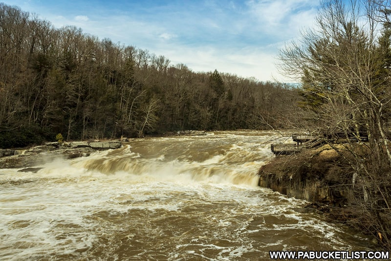 Ohiopyle Falls as viewed from in front of the Laurel Highlands Visitors Center.