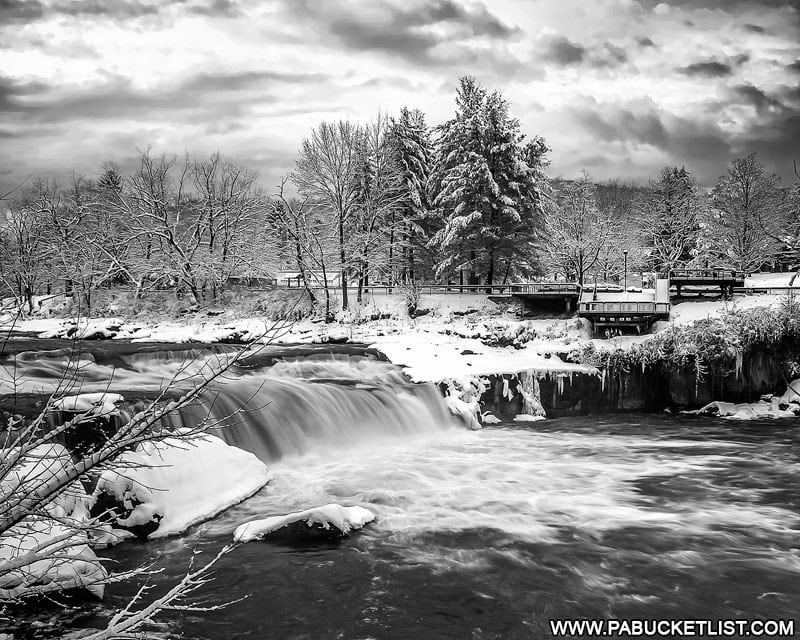 A black and white view of Ohiopyle Falls in the winter.
