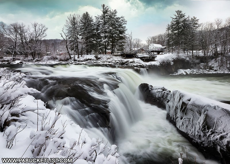 A snow-covered winter scene at Ohiopyle Falls.