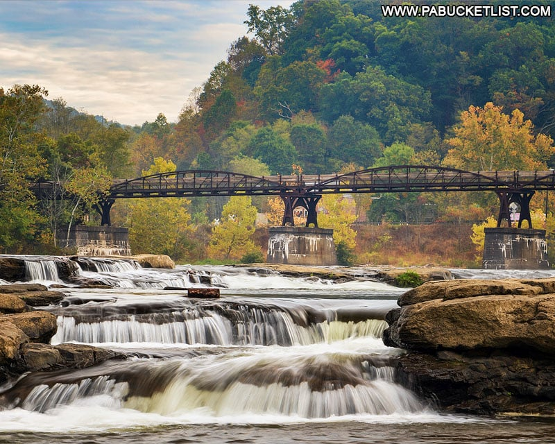 The Youghiogheny River as it passes under the Low Bridge along the Great Allegheny Passage at Ohiopyle State Park.