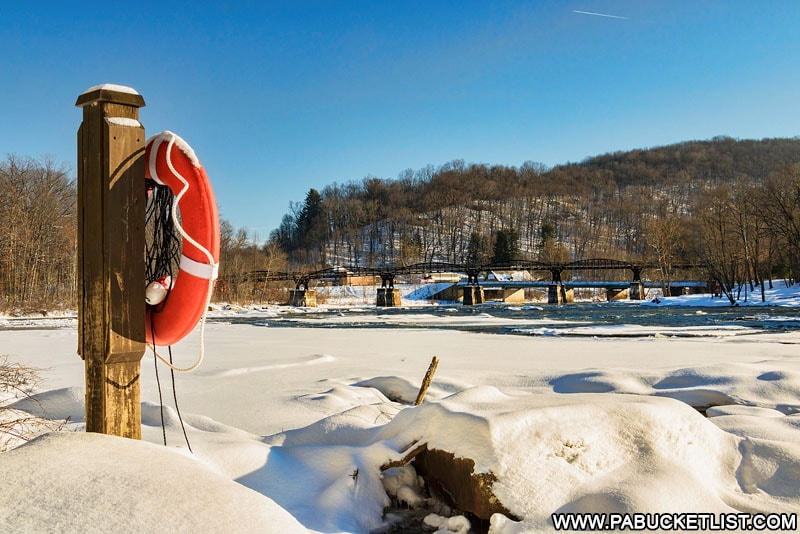 The partially-frozen Youghiogheny River as viewed from Ferncliff Trail at Ohiopyle State Park.