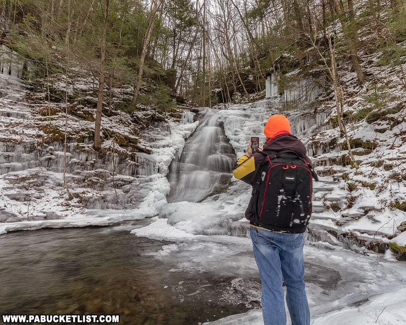 The author at Abbott Run Falls on a winter day.