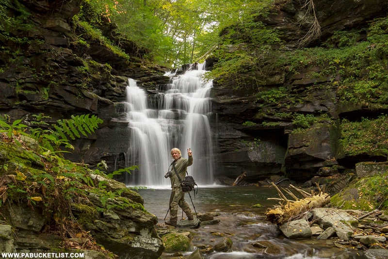A photographer takes in the scene at Big Falls on State Game Lands 13 in Sullivan County, PA.
