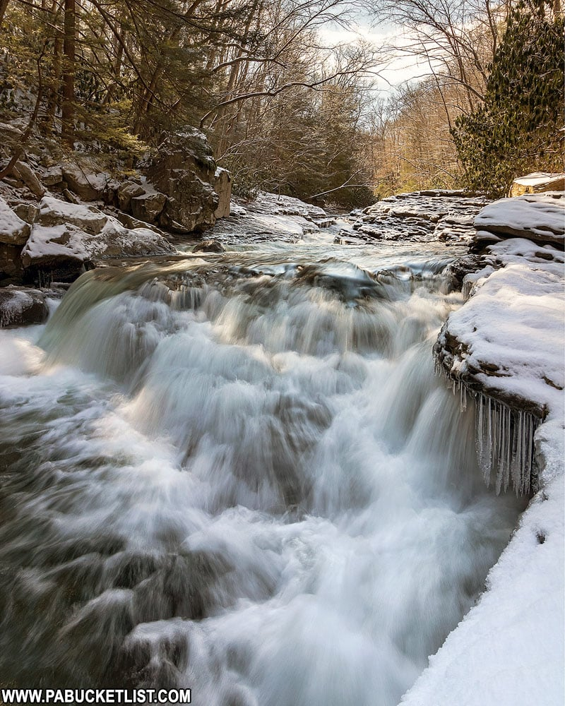 The Natural Waterslides at Ohiopyle State Park on a winter afternoon.