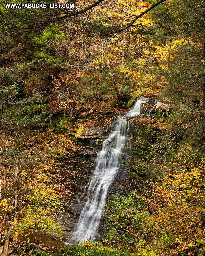 Fall foliage around the tallest waterfalls along the Turkey Path.