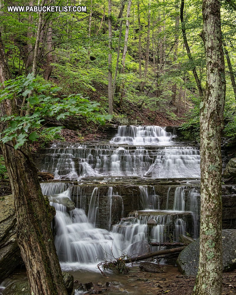 Waterfalls near the intersection of the Turkey Path and the Pine Creek Rail Trail.