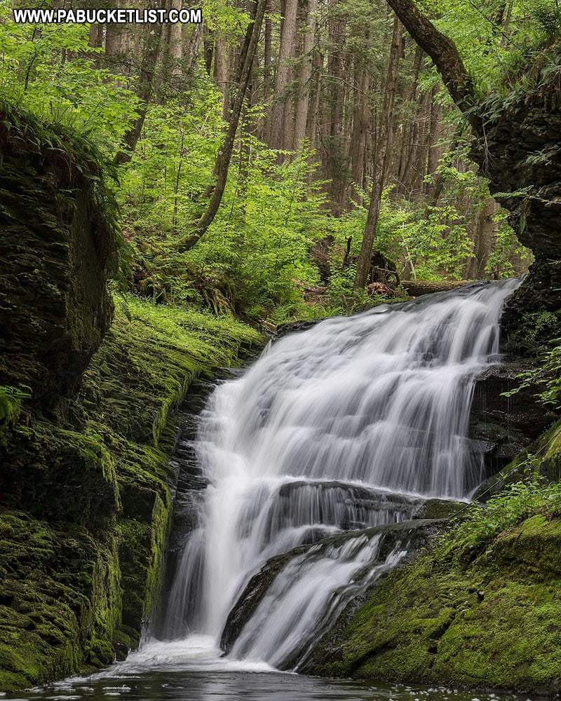 Waterfall along Upper Hornsbeck Trail in Pike County Pennsylvania