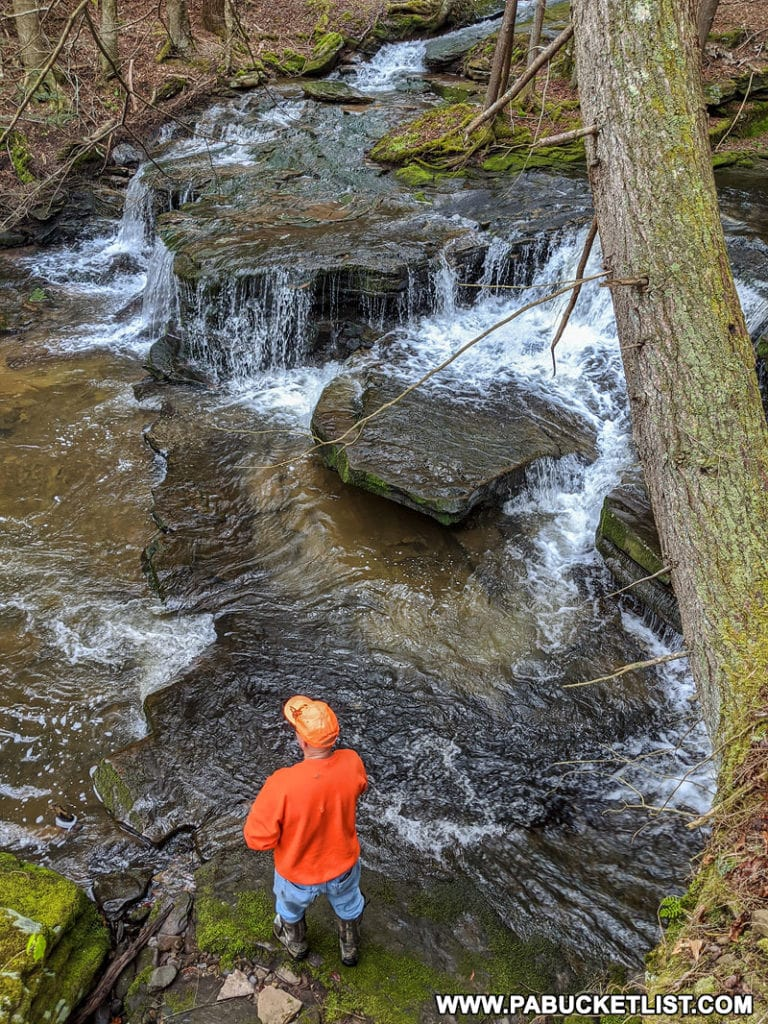 Fisherman at Babb Creek Falls in Tioga State Forest