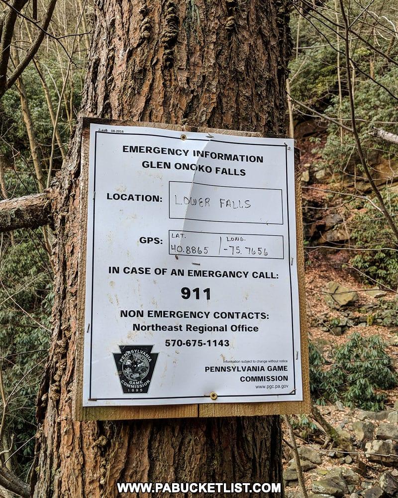 Emergency sign near Chameleon Falls at Glen Onoko on State Game Lands 141