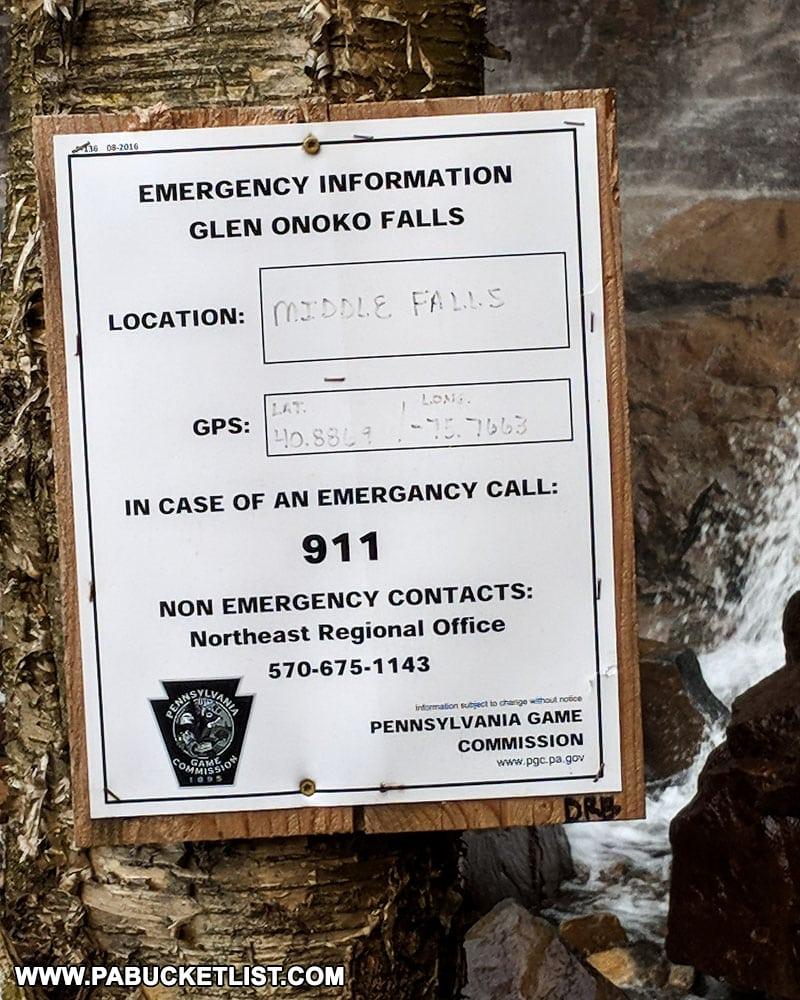 Emergency sign near Onoko Falls at Glen Onoko on State Game Lands 141