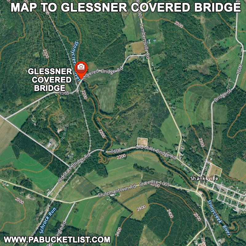 Map to Glessner Covered Bridge in Somerset County Pennsylvania