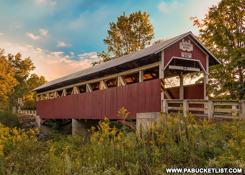 The Glessner Covered Bridge over the Stoneycreek River near Shanksville PA