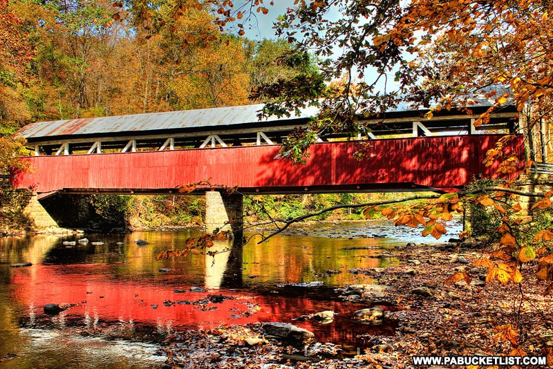 Lower Humbert Covered Bridge over Laurel HIll Creek in Somerset County PA