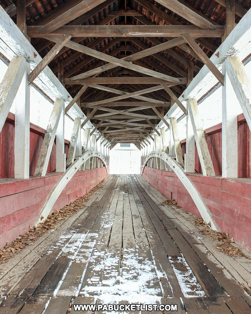 Interior trusses on the Lower Humbert Covered Bridge