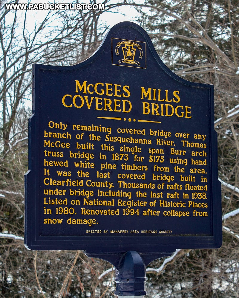 Historical marker at McGees Mills Covered Bridge