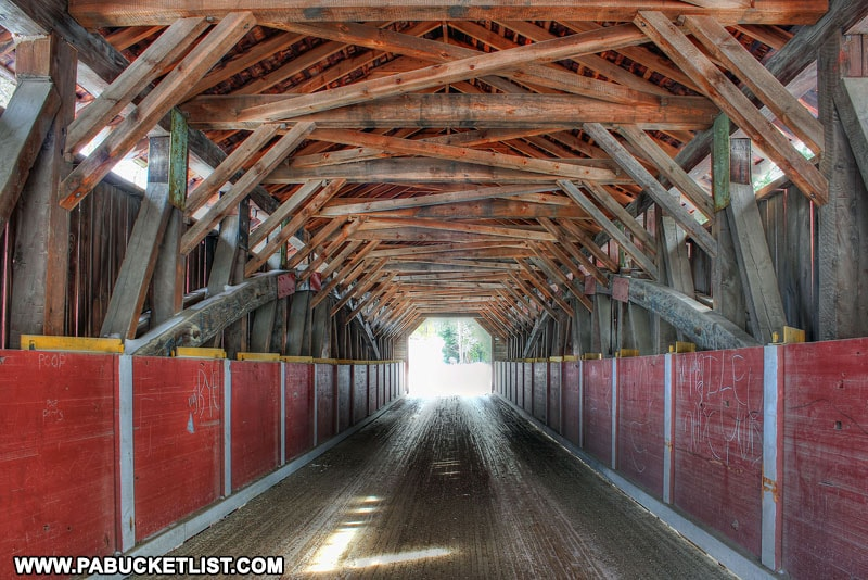Interior of McGees Mills Covered Bridge in Pennsyvania