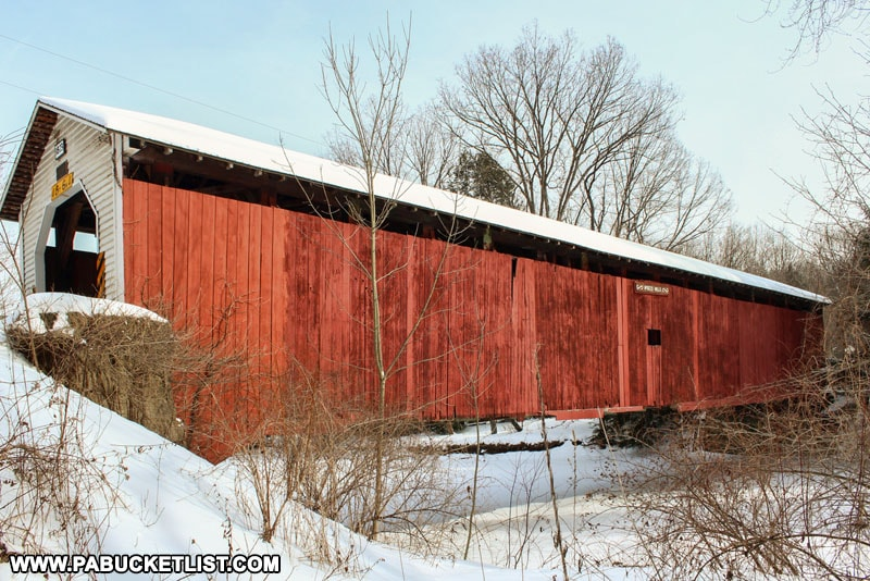 A side view of McGees Mills Covered Bridge in Pennsylvania