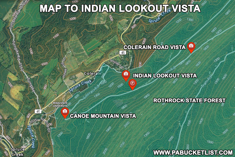 How to find Indian Lookout Vista in the Rothrock State Forest.