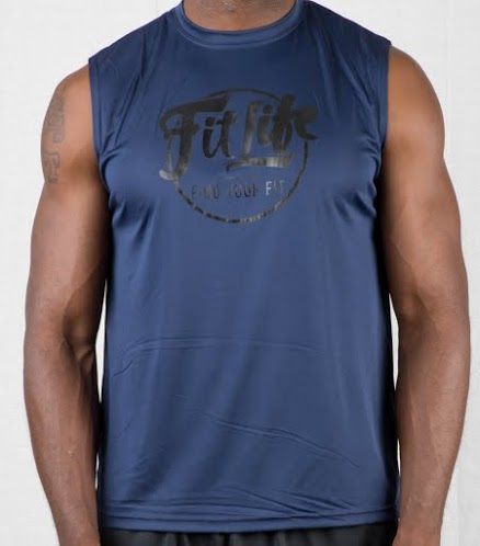 Polyester Cooling Performance Fit Life Muscle Tee In Dark Blue