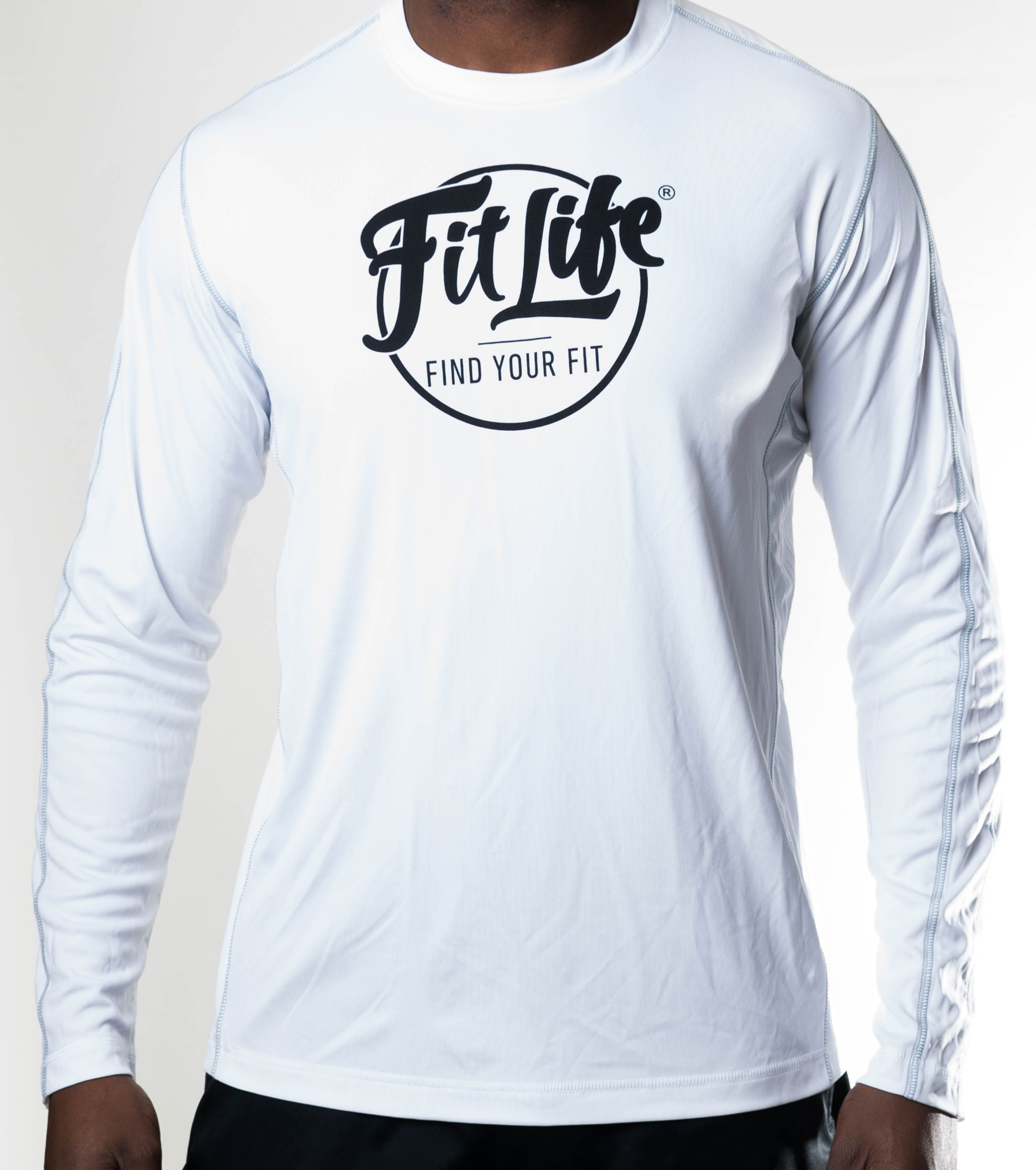 White Long Sleeve Fit Life Tee