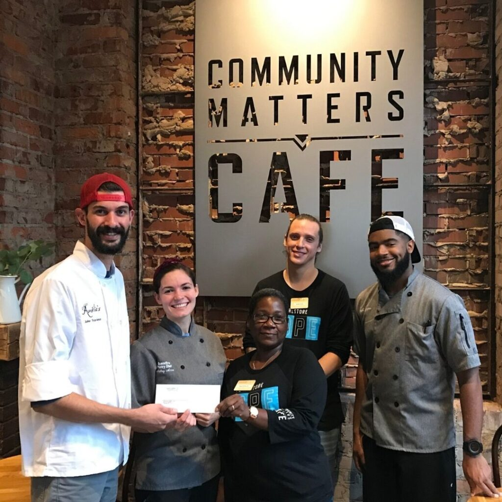 Birthday Cake Macaron Campaign - Check Presentation to Community Matters Cafe