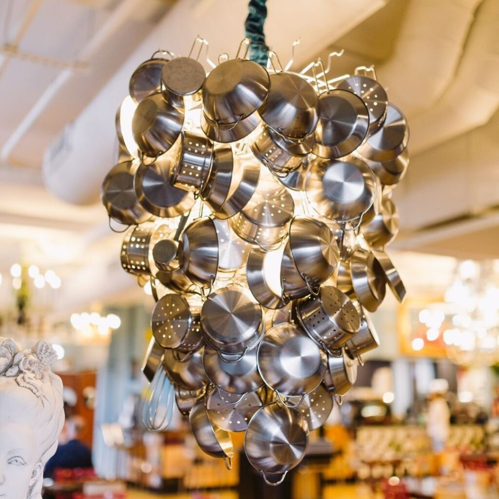 Pots and Pans Chandelier - Park Road bakery