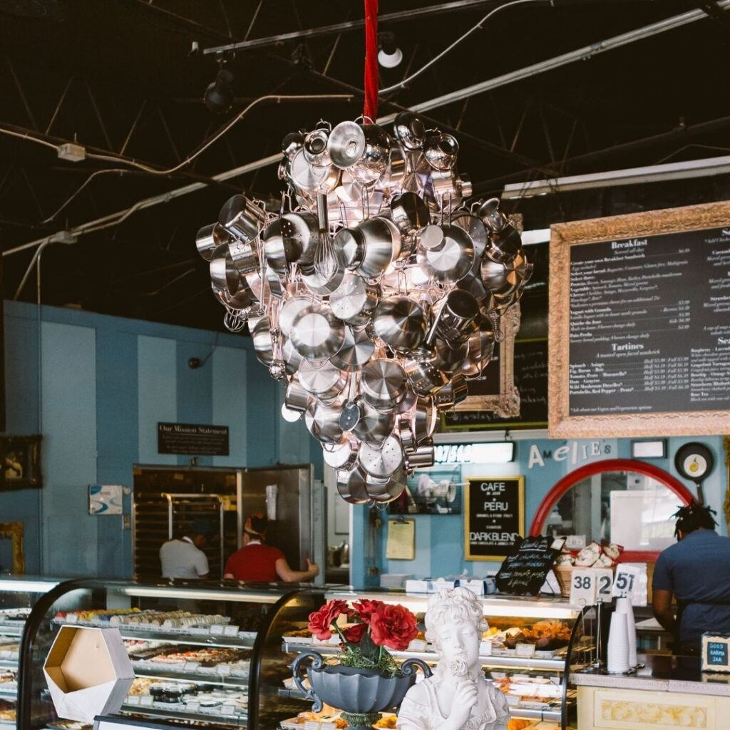 Pots and Pans Chandelier - NoDa bakery