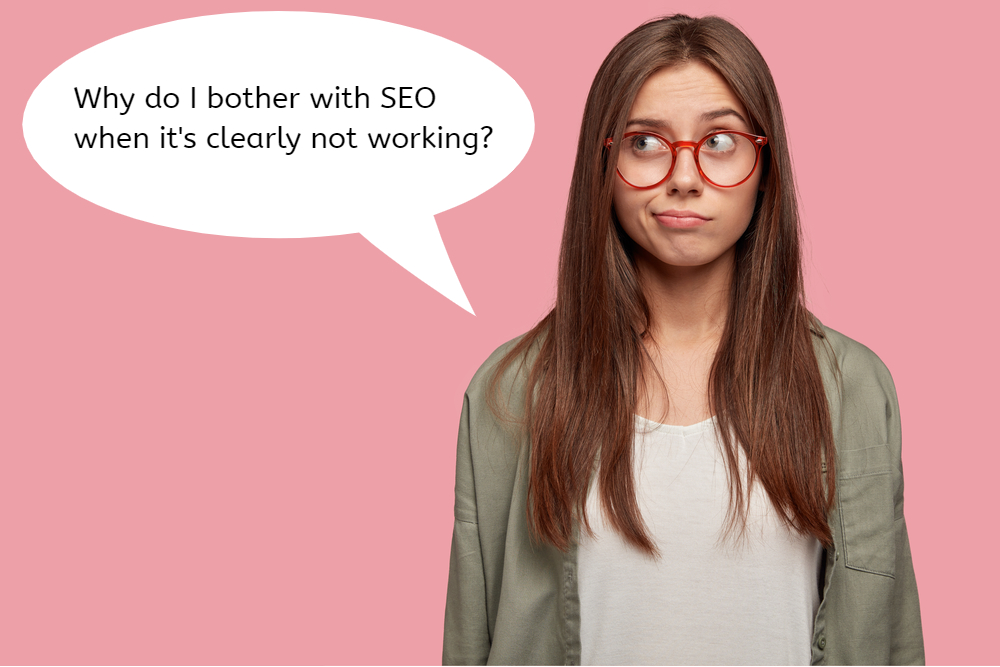 Image of woman with speech bubble talking about SEO.