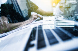 Abstract image of man at laptop