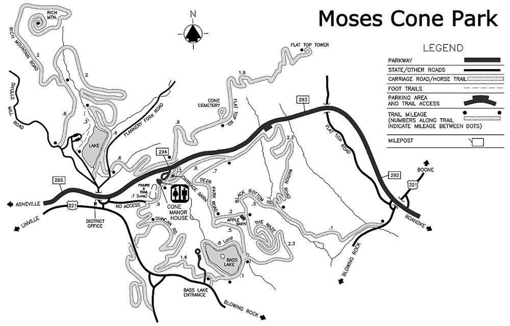 Moses Cone Park Trail Map