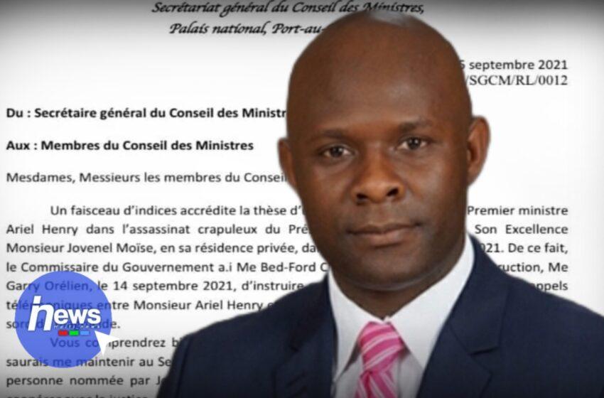 Sekretè Jeneral konsèy minis yo Rénald Lubérice demisyone