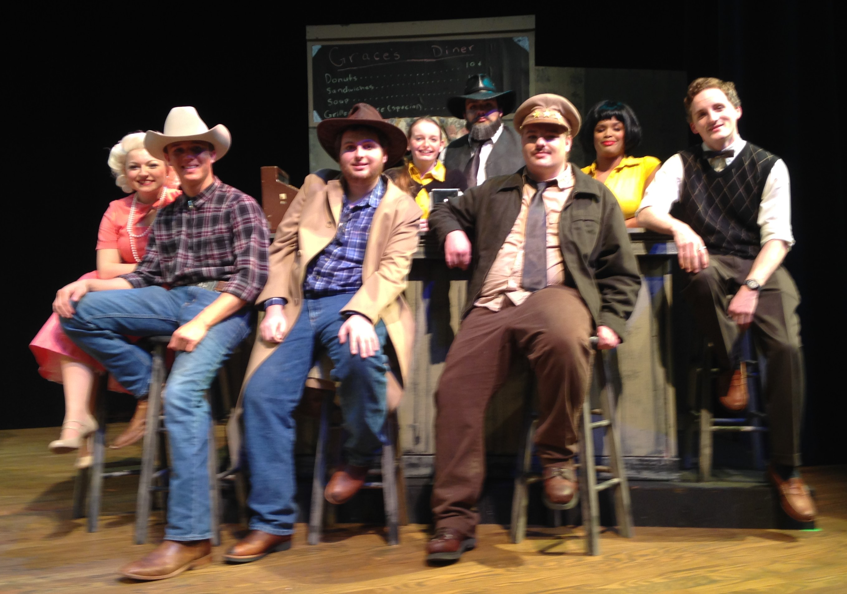 """The cast of """"Bus Stop"""" at Spartanburg Methodist College."""