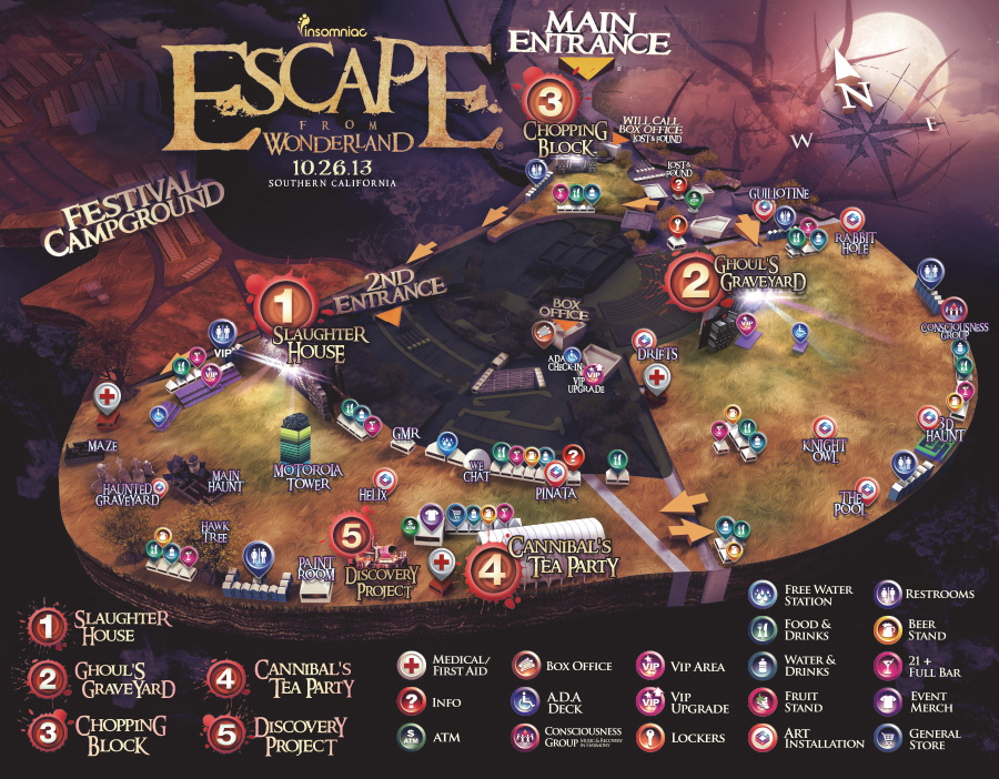 Insomniac Events releases the Escape From Wonderland 2013 Venue Map