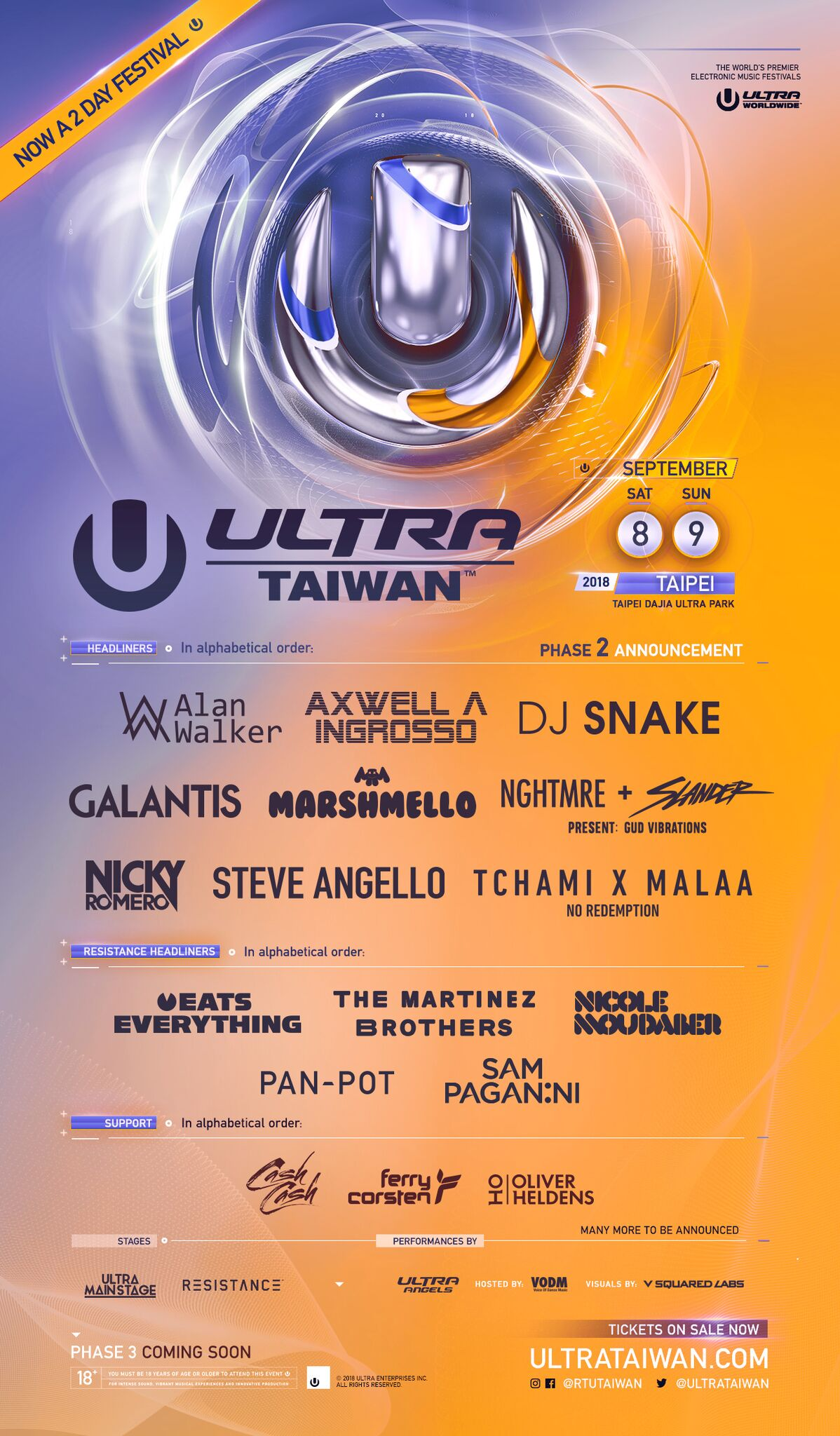 Ultra Taiwan Releases Phase Two Lineup