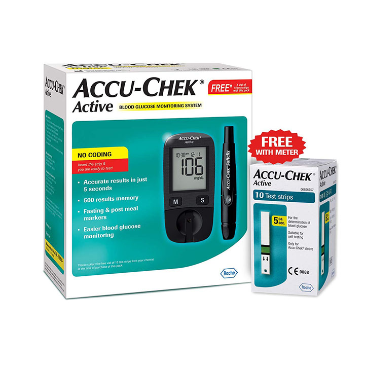 accu-chek active blood glucose meter kit vial of 10 strips free (multicolor)