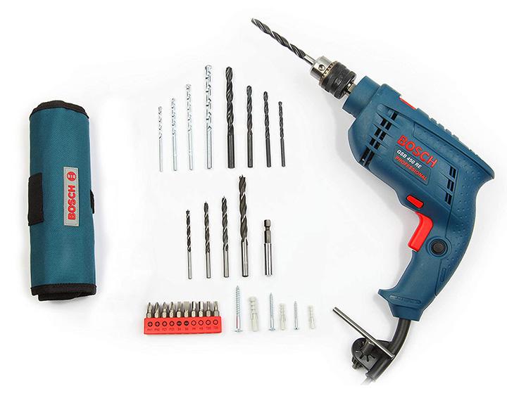 bosch gsb 450-watt impact drill set