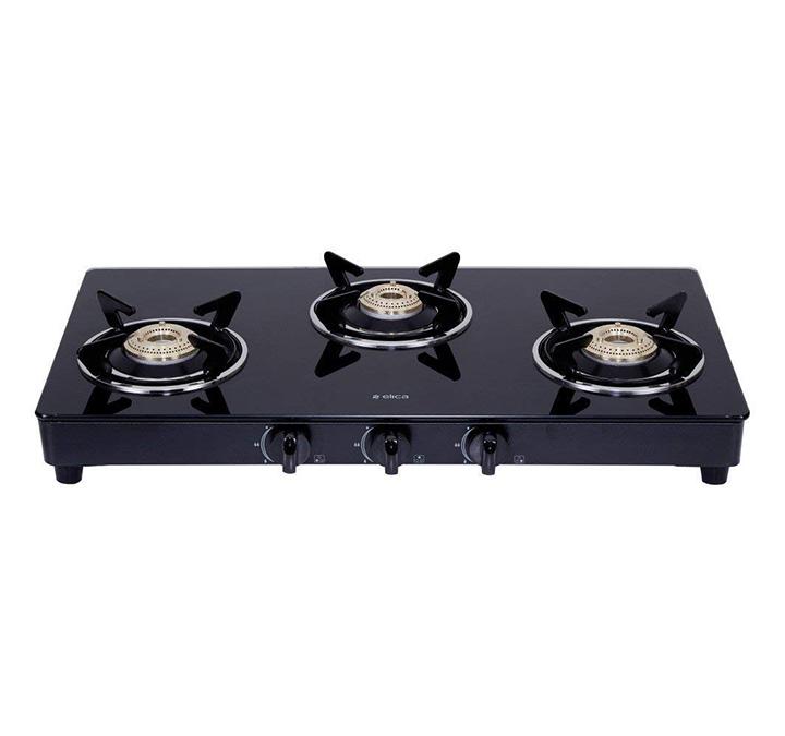 elica vetro glass top 3 burner gas stove