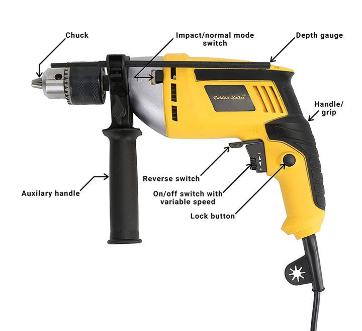 golden bullet hi93 600w 13mm reversible impact drill