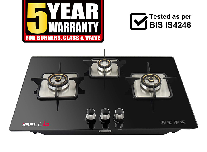 i bell aero hob 3 burner glass top gas stove with auto ignition (black)