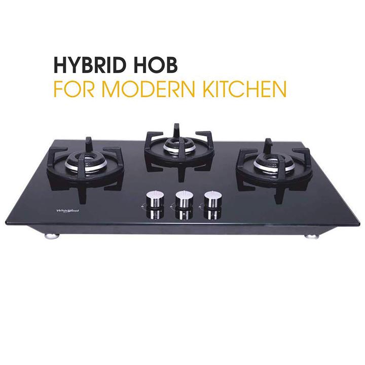 whirlpool hob 3 burner auto ignition gas stove